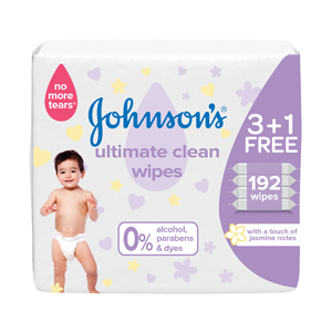 Johnson's  Baby Wipes Ultimate Clean Pack 48 wipes 3+1Free
