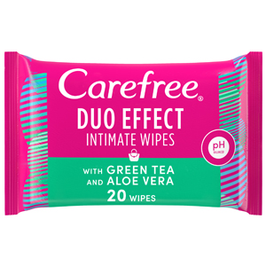 Carefree Daily Intimate Wipes Duo Effect with Green Tea & Aloe Vera Pack of 20 Wipes