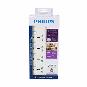 Philips 4 Way Extention Sockets 3Mtr