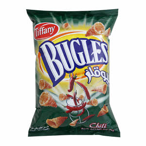 Bugles Crisps Corn Snacks Chilli 100Gm