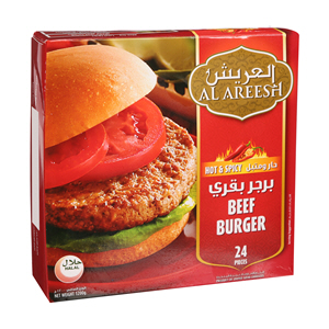Al Areesh Beef Burger Hot Spicy 1200gm × 24'S