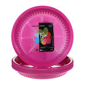 Fun Colored Plastic Plate Pink 22Cm × 25'S