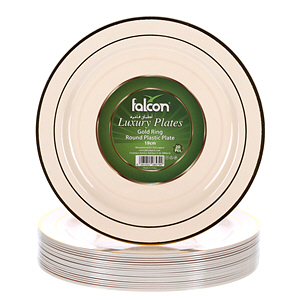 Falcon Plastic Ivory Gold Plate 19Cm