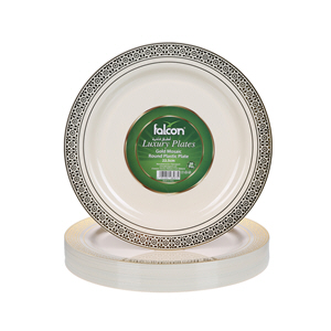 Falcon Gold Mosaic Round Plastic Plate 22.5Cm
