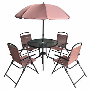 Campmate Glass Top Table with 4 Chairs & Umbrealla