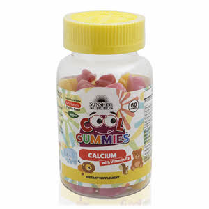 Sunshine Nutrition Cool Gummies Calcium with Vitamin D3 60PCS