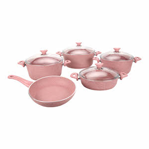 Opalina Granite Coated Cookware Set Pink 9-Piece
